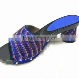 woman top fashion high heel leather slipper shoes with crystal stone sandals /many color stone heels shoes YZ1212-9