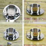Espresso Cups 304 Stainless Steel Coffee Cup with Spoon and Saucer Set, Great Idea for Coffee and Tea Love Coffee cup