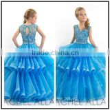 Blue V Neck Ball Gown Custom Made Vestidos Flower Little Girl for Wedding Party TF014 baby flower girl dress patterns