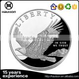 Promotional gifts hot sale 3d design customized imitation shiny silver plating reeded edge metal souvenir liberty eagle coin