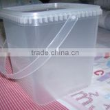 Factory direct supply plastic square bucket 4 L clear plastic square pail Food grade transparent square bucket with lid