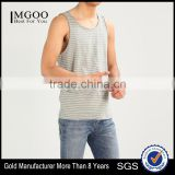 MGOO Scoop Neck Raw Cut Hems Mens Singlet Vests White Striped Sleeveless Drop Armhole Tank Top