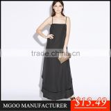 MGOO Stock 2015 Bohemian Long Summer Women Dress Chiffon Maxi Dress For Women Black Loose Casual Spaghetti Strap Vestidos