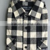 New Men's Black White Plaid Flannel Shirt Slim Fit Soft Comfortable Spring Male Shirt