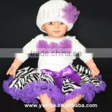 2013 Newest Wholesale baby pettiskirt suit top and zebra printed with purple chiffon princess dress in autumn for girls' outfit