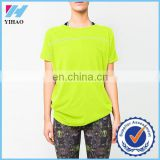 Yihao Trade Assurance Ladies Custom Iridescent Sports Gym Wear Relaxed T shirt 2015
