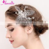 Unique Design Tulle Butterfly Shaped Crystal Hair Clip Decoration Bridal Headpiece Bridesmaid Wedding Hair Accessories