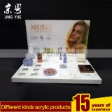 High quality acrylic cosmetic make up L shape display stand,counter top cosmetic display