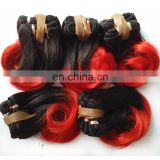 Wholesale Attractive and Popular Short Human Weft Hair Body Wave Brazilian Red Remy Hair Extensions