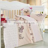 Embroider Girl and Flower Bedding Cotton Baby Comforter Set 200TC In Pink Color