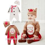 2016 spring and autumn infant toddlers clothing rompers Deer and Snowman Long sleeve plain cotton baby romper