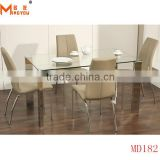 No Folded clear glass dining table set