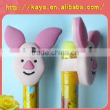 Promotional pvc cartoon clip for a pencil, plastic stationary crafts