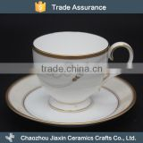 Gold trim decal ceramic 250ml red tea cup and saucer                                                                                                         Supplier's Choice