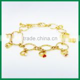 Gold bracelets with ring attached Zinc Alloy Charms Diamond Bracelet