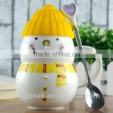 Best Selling 330ml Snowman customed ceramic coffee mug/Promotion Christmas gift coffee travel mug with spoon and silicone lid