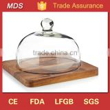 Cake decorating glass bell jar dome cover with glass wooden base                                                                         Quality Choice