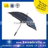Black Coated Shaft Plastic Curved Handle With Windproof Straight Golf Umbrella