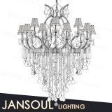 chinese architectural design antique home light frame decoration k9 crystal chain chandelier with mini glass lampshape