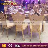 Carven back stainless steel metal gold throne chairs ,gold banquet chairs