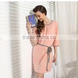 Solid Nightgown Knee-length Sleepshirts Women HomeClothing Sets Plus size Lounge Wear
