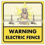UV Flatbed Print Custom Full Colour High Quality Electric Fence Warning Sign