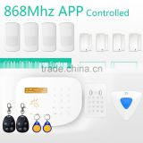 IOS/Andriod APP remote control home security alarm system with IP camera & RFID GSM PSTN alarm system with smart socket
