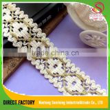[NTSUNRISING]Factory supply 5CM 100%cotton polish africa cord border lace with gold lurex for Dress/Garment/Underwear/cap/bag