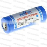 FEYATE IMR 18500 1150mAh 3.7V li-mn battery high drain with batton top 2013 high quality rechargeable battery for ecigs market
