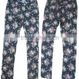Adults female fashion women flower soft garment wash supper skiny jeans ladies high rise floral print jeans factory