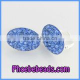 Wholesale Light Blue Rhinestone Pave Nickel Free Clip On Earrings Fashion PEA12