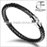 Wide Braided Leather Bracelet Bangle Black Fabric Leather Wristband Bangle with Stainless Steel Magnetic Box Clasp