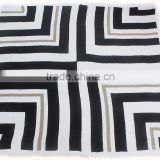 black and white stripe oversize square reverse knit acrylic scarf