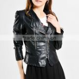 Hitz Korean Version Of The Slim And Long Sections Lapel PU Leather Women Lady Shrugging Washed Casual Jacket