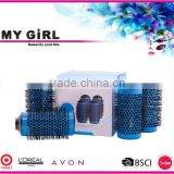 MY GIRL New ceramic curl 3D Hair Brush round Comb brush styling tool Blow Drying Detangling Heat Resistant Hairbrush