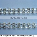 ss16 2 rows hot-fix rhinestone Cup Chain