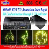 DMX Christmas 800mW RGY Animation laser light with SD+Animation fireworks+Beam party Stage lighting