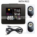 RF Wireless RCC LED Weather Station Clock Black with Backlight Indoor Outdoor Temperature Humidity with 2 sensors