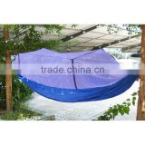 2017 Distinctive Design All Blue Parachute Nylon Fabric Jungle Hammock with mosquito net outdoor Single size