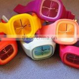 Anti-static flexible adornment looped rainbow color silicone watch