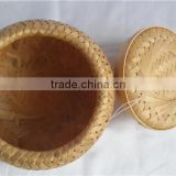 China Style rouond New Bamboo weave Casket with lid S