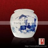 Round style excellent quality blue and white porcelain tea tin canisters with hand painting child made in China