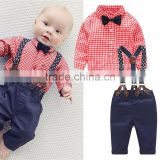 Plaid shrit and overalls Newborn baby clothing set with infants and toddlers Direct from manufacturer clothing