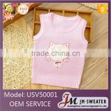 Latest high quality infant knitted sleeveless vest pink cartoon baby waistcoats