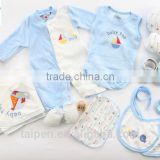 Fashion Style100% Cotton Blue Color Romper +Top + Hat 10Pcs Winter Baby Boys Clothing Set