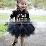 Summer One-piece Girl Child Dress Short Sleeve Lace Black Tutu Dress For Girl 2-7T