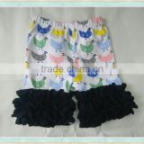 HT-0184 Toddler hot sale children's boutique pants baby girl's shorts hens cartoon printt ruffle shorts