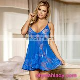 China Wholesale Paypal Accepted Lace Soft Blue Sexy Comfort Nightwear