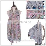 wholesale new fringe shawl print fabric display hijab stock pakistan scarf