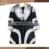 Genuine Rex Rabbit Fur Coat With Fox Fur Trim Real Rex Rabbit Fur Parka